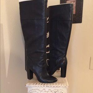 Banana Republic Black Leather Knee-High Boots